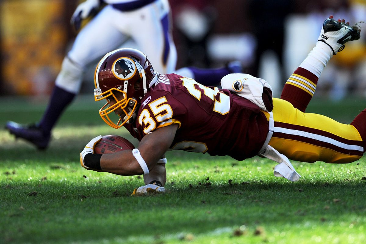 LANDOVER, MD - DECEMBER 24: Evan Royster #35 of the Washington Redskins dives for extra yards against the Minnesota Vikings in the first quarter at FedEx Field on December 24, 2011 in Landover, Maryland. (Photo by Patrick Smith/Getty Images)