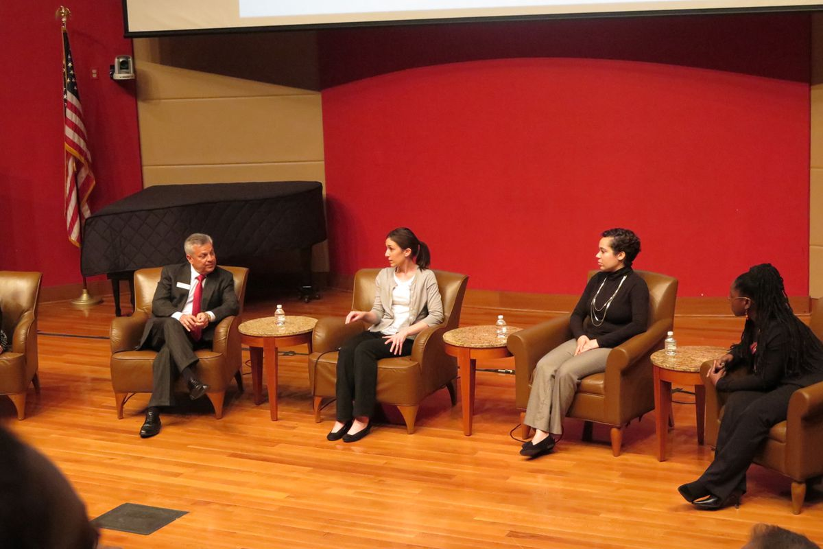 Dean Gerardo Gonzalez, of Indiana University's College of Education, and teachers Natalie Merz, Adriana Rivera and Tayana Dowdell discussed teacher preparation and the realities of teachers' jobs at an event Tuesday night.