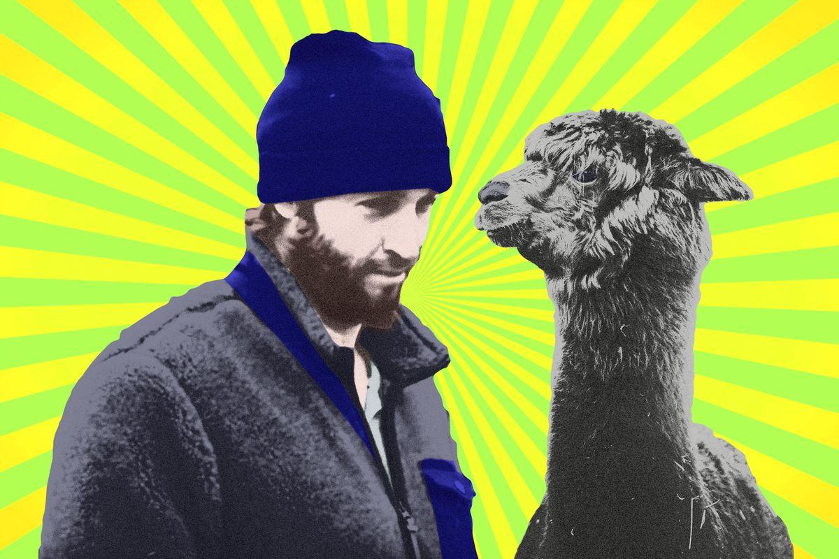 Jay Cutler and a black llama