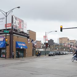 View looking south on Clark Street, from Addison