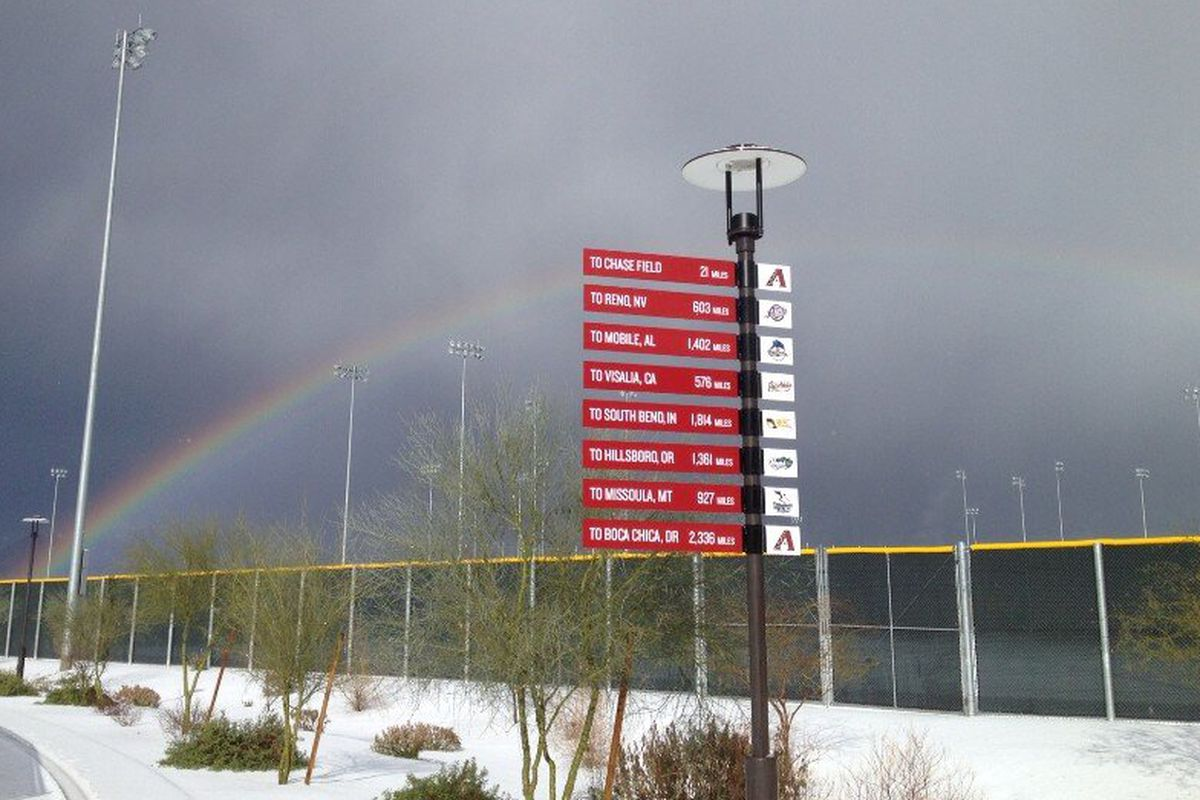 """""""When you think of Arizona Spring Training, think of snow and a rainbow!"""""""