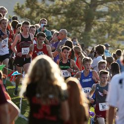 Runners compete in the 4A state boys high school cross-country championship in Cedar City on Wednesday, Oct. 21, 2020.
