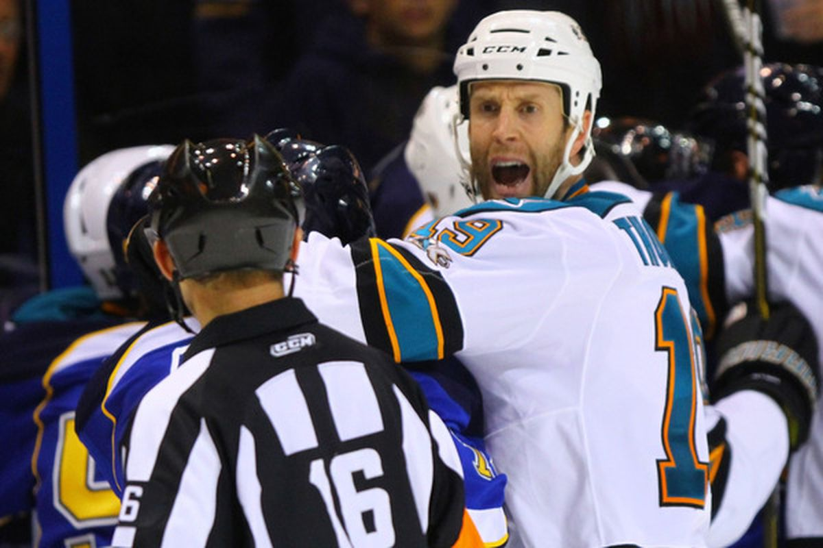 ST. LOUIS - NOVEMBER 4: Joe Thornton #19 of the San Jose Sharks questions the linesman's call during the game against the St. Louis Blues at the Scottrade Center on November 4 2010 in St. Louis Missouri.  (Photo by Dilip Vishwanat/Getty Images)