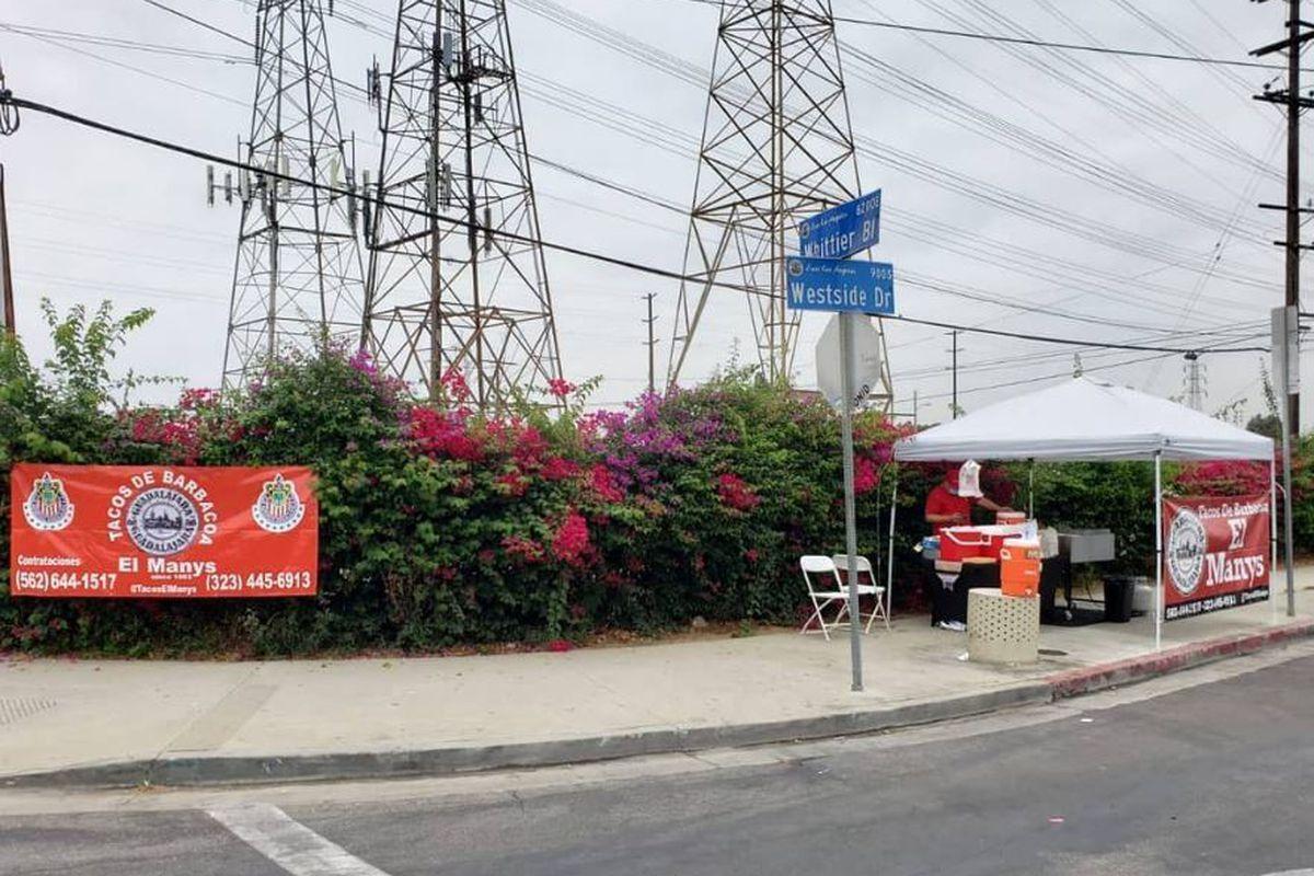 Tacos El Manys in East LA taco stand