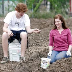 Tammy Stephan, right, and her son Austin talk as they gather rocks out of the garden ground. Members of the Orem Community Church, the Orem 4th Ward of the LDS Church and the Assemblies of God work together Monday, April 30, 2012 to remove rocks from the ground in the garden area. The groups are working together to plant, cultivate, and harvest a garden, the produce from which will be donated to the Food & Care Coalition.