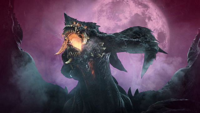 Demon rising from the moon lit mist