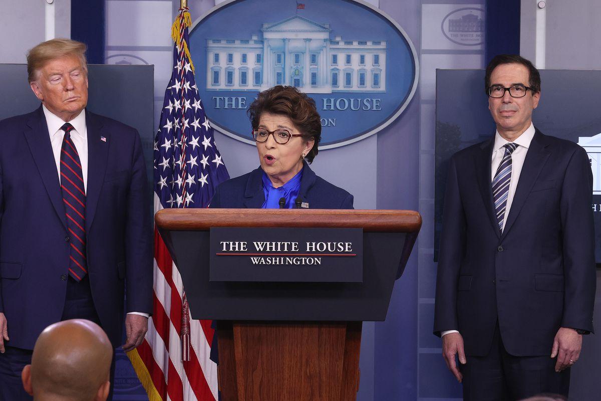 Small Business Administration chief Jovita Carranza, President Donald Trump and Treasury Secretary Steve Mnuchin at the White House on April 2, 2020 discussing SBA COVID-19 emergency programs.