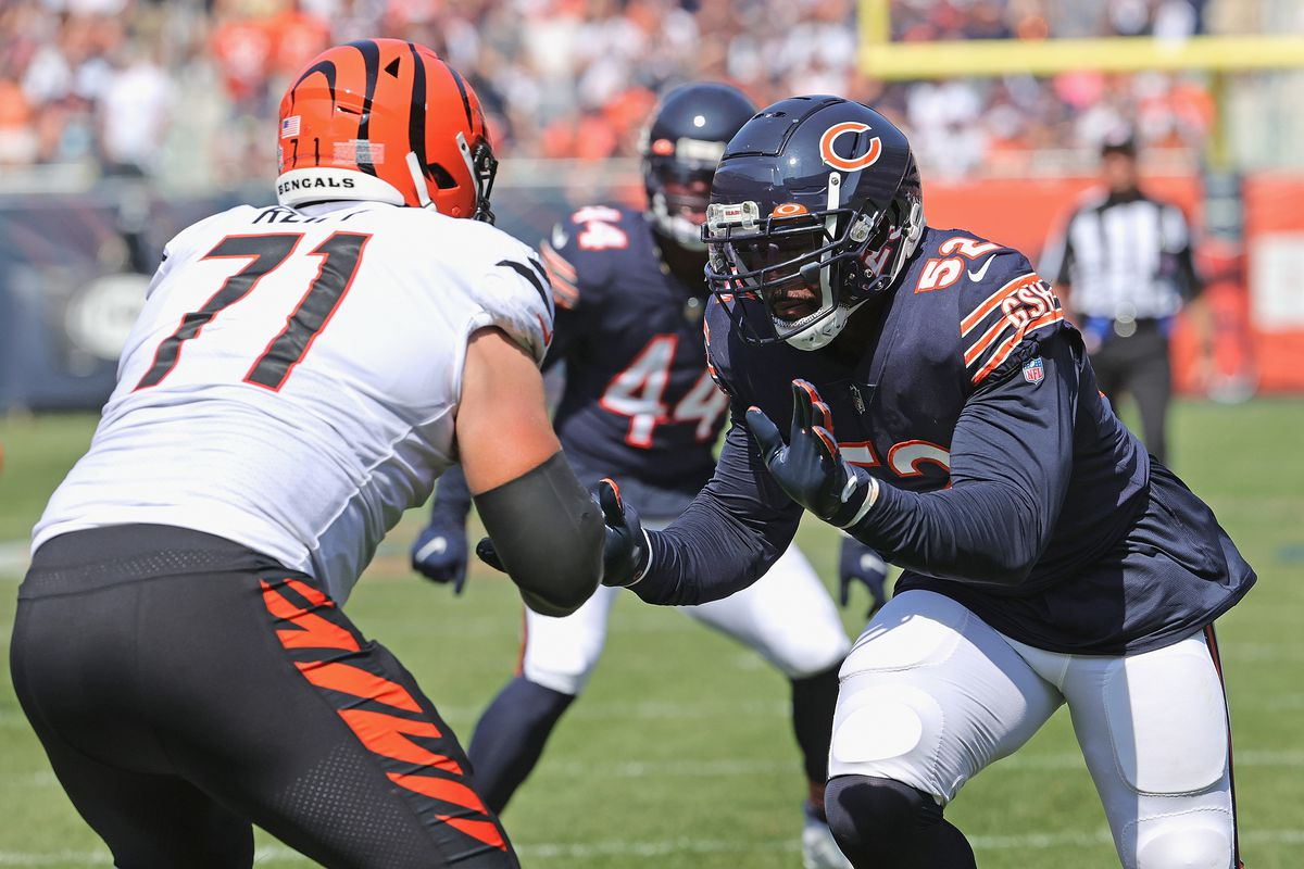 Khalil Mack of the Chicago Bears rushes against Riley Reiff of the Cincinnati Bengals at Soldier Field on September 19, 2021 in Chicago, Illinois. The Bears defeated the Bengals 20-17.