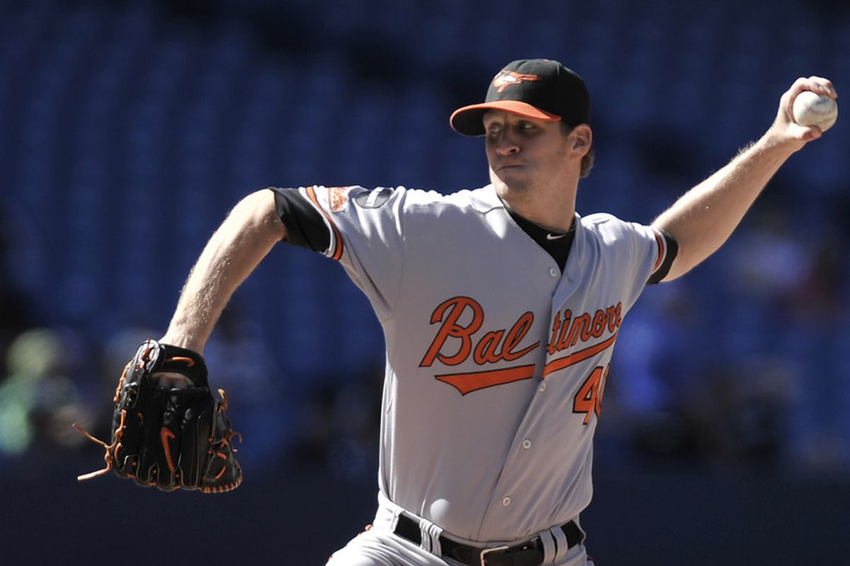 TORONTO, CANADA - SEPTEMBER 10:  Troy Patton #40 of the Baltimore Orioles delivers a pitch during MLB game action against the Toronto Blue Jays September 10, 2011 at Rogers Centre in Toronto, Ontario, Canada. (Photo by Brad White/Getty Images)
