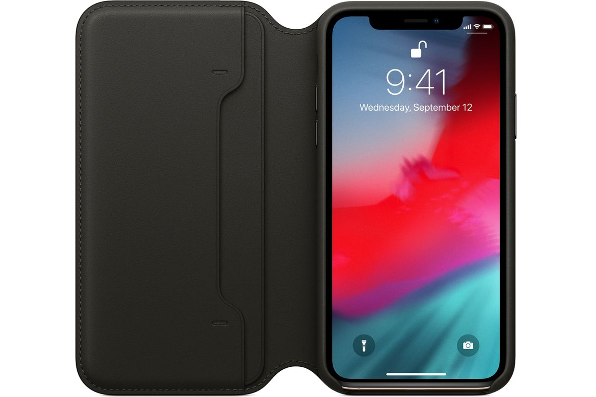 best service 056f8 10e0c iPhone XS leather folio case is heavily discounted at Best Buy - The ...