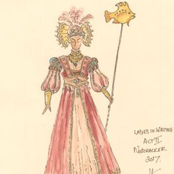 """A sketch of a lady in waiting for Ballet West's """"The Nutcracker."""""""