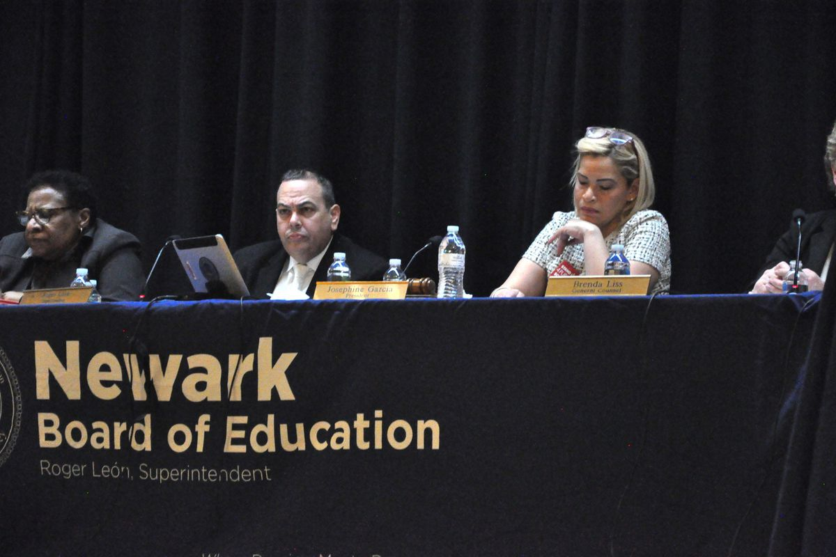 Newark Superintendent Roger León listened as charter school advocates and critics voiced their opinions at the board meeting.