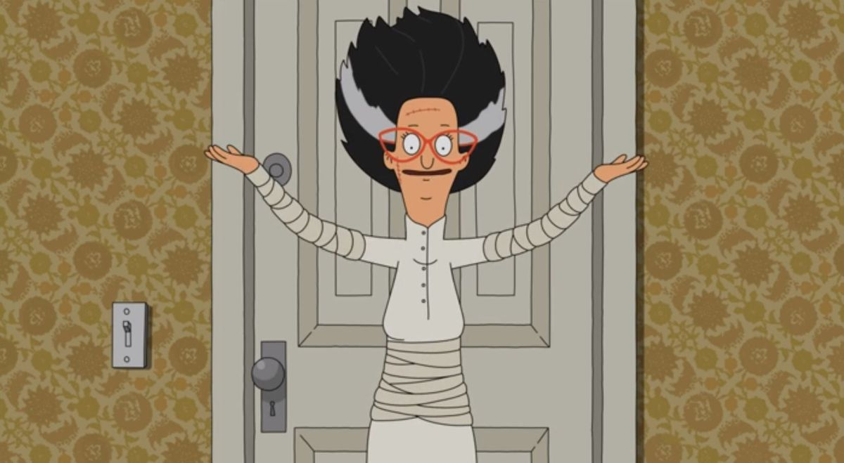 Linda Belcher from Bob's Burgers, dressed as the Bride of Frankenstein