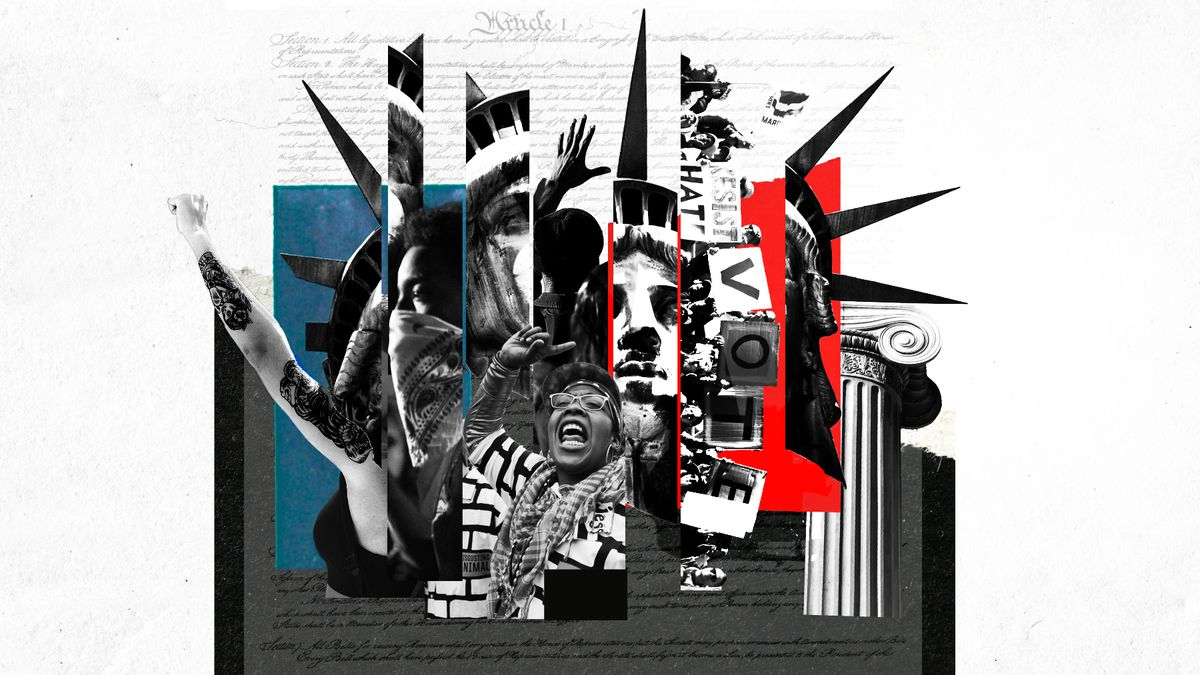 A collage-based illustration displaying elements of protest images and the Statue of Liberty.