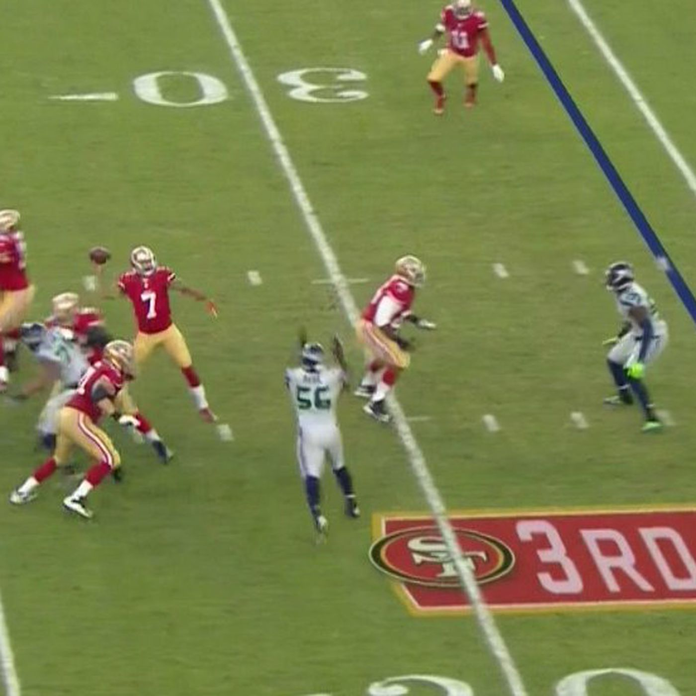 f76c8eaee20 Colin Kaepernick drills 49ers staffer on sideline in the head with errant  pass - SBNation.com