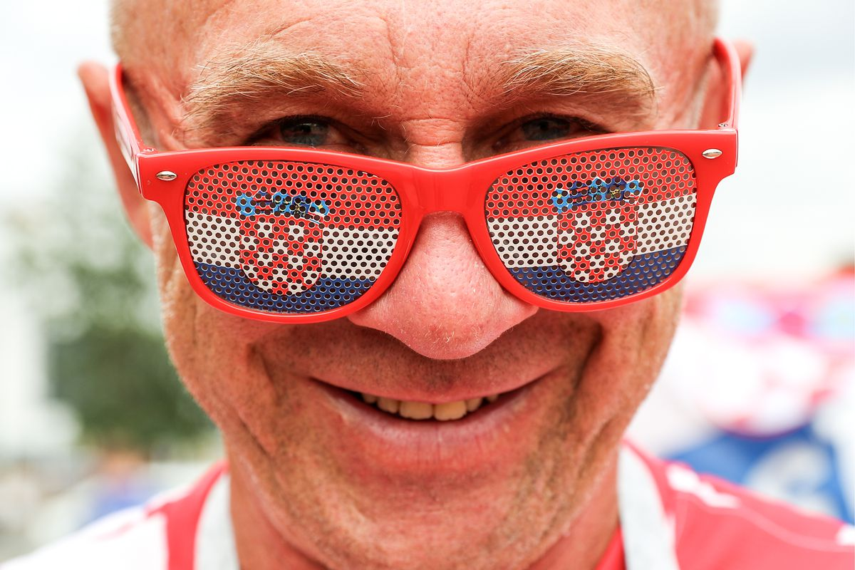 KALININGRAD, RUSSIA - JUNE 16, 2018: A football fan supporting Croatia wears glasses before a First Stage Group D match between Croatia and Nigeria in Kaliningrad. Vitaly Nevar/TASS