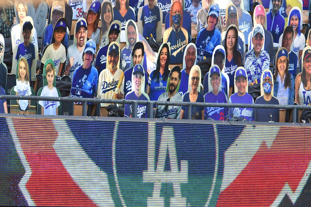 Los Angeles Dodgers take on the San Francisco Giants during a MLB baseball game on Opening Day at Dodger Stadium.