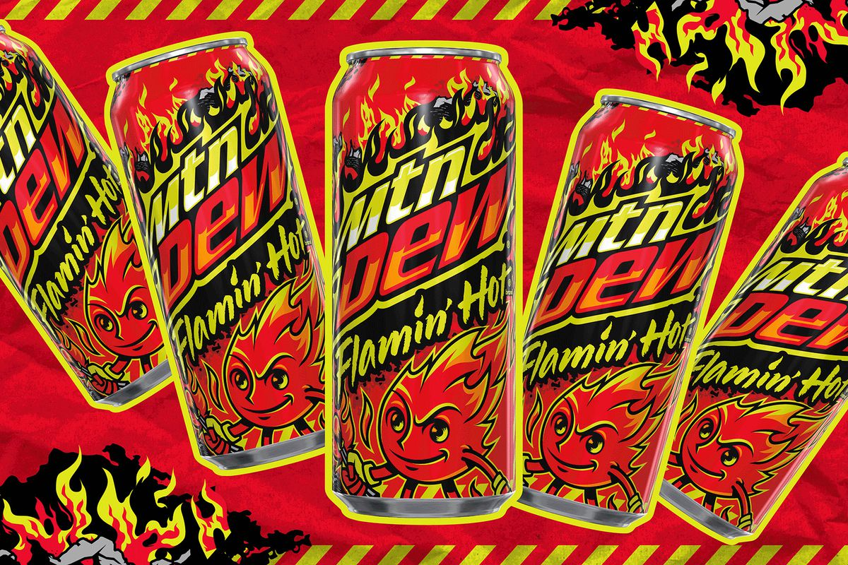Cans of Mountain Dew Flamin' Hot