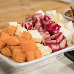 Cubed carrots, celery root, beets & parsnips.   Ashlee Rezin/Sun-Times