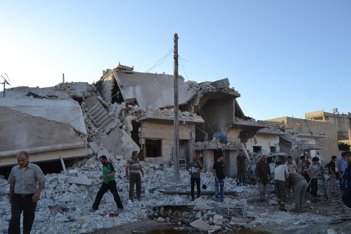 Bombed-out building in Syria