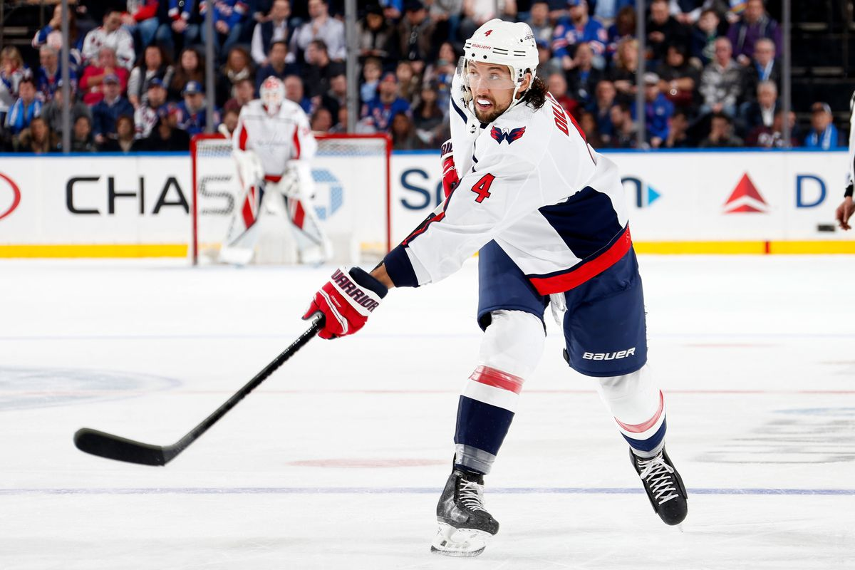 NEW YORK, NY - MARCH 05: Brenden Dillon #4 of the Washington Capitals skates against the New York Rangers at Madison Square Garden on March 5, 2020 in New York City.