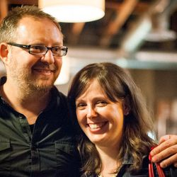 Seattle chef Ethan Stowell with Seattle Met's Allecia Vermillion, at the Eater/LM event.