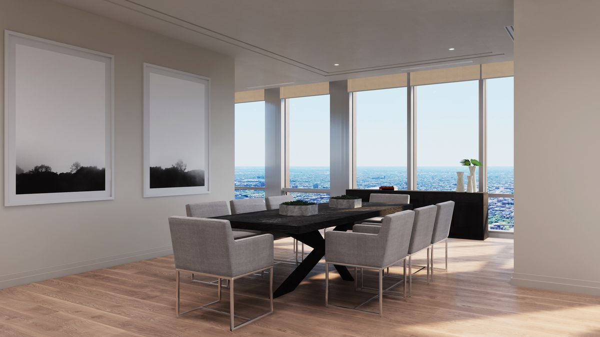 A rendering of a formal dining room with a rectangular table and eight chairs. It overlooks much lower buildings stretching out into the distance.