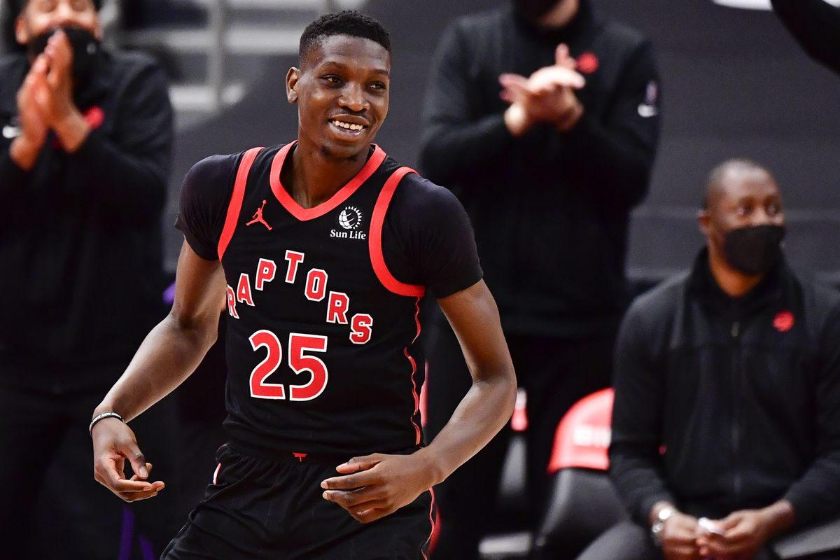Chris Boucher of the Toronto Raptors reacts during the fourth quarter against the Oklahoma City Thunder at Amalie Arena on April 18, 2021 in Tampa, Florida.