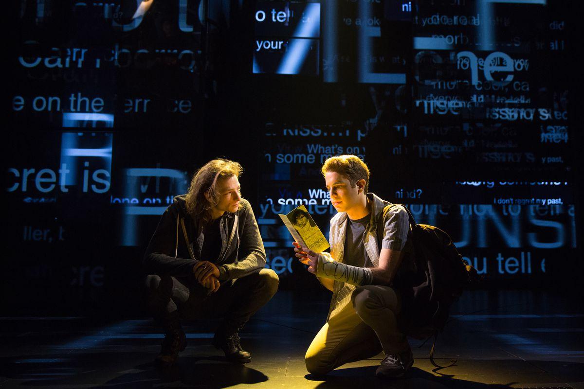 """Mike Faist (left) plays Connor and Ben Platt plays the title character in the Broadway musical, """"Dear Evan Hansen."""" (Photo: Matthew Murphy)"""