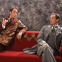"""Algernon (Paul Riopelle, left) and John Worthing (Rex Young) in Utah Shakespearean Festival's """"The Importance of Being Earnest."""""""