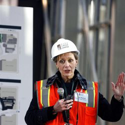 Linda Wardell, general manager of City Creek Center, the retail portion of City Creek, speaks to the media at the City Creek Center in Salt Lake City on Wednesday, Oct. 26, 2011.