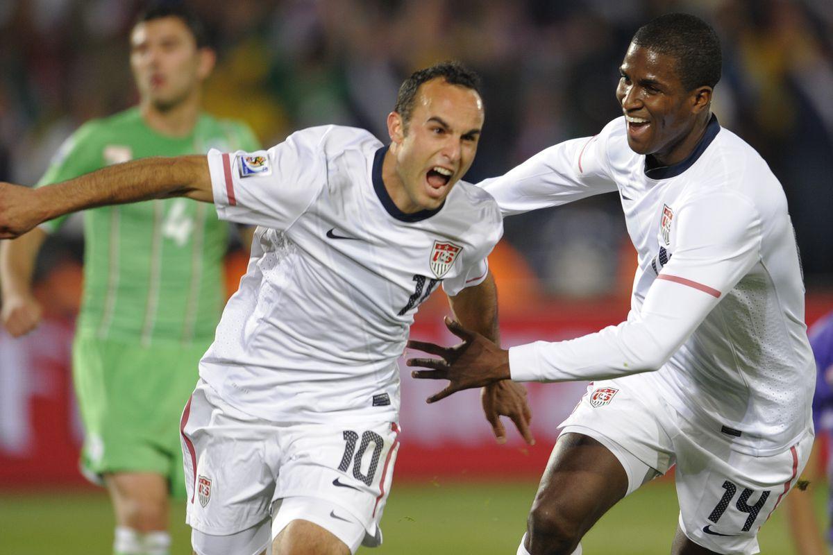 US midfielder Landon Donovan celebrates