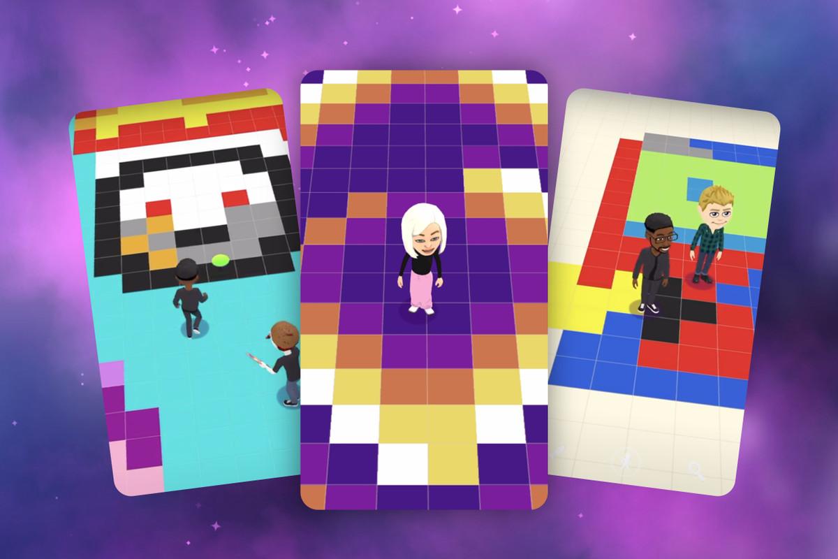 Capturas de pantalla del juego Bitmoji Paint de Snapchat que muestran personajes Bitmoji de pie sobre cuadrículas de pixel art.
