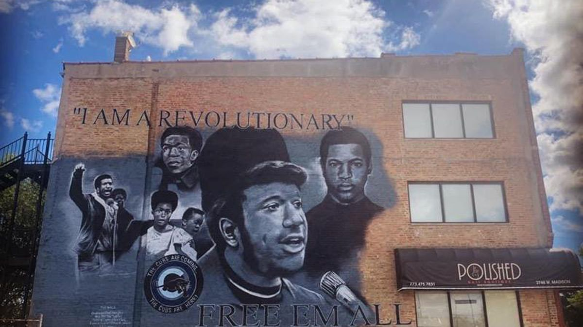 A new mural at 2746 W. Madison St. honors Black Panther Party leader Fred Hampton.