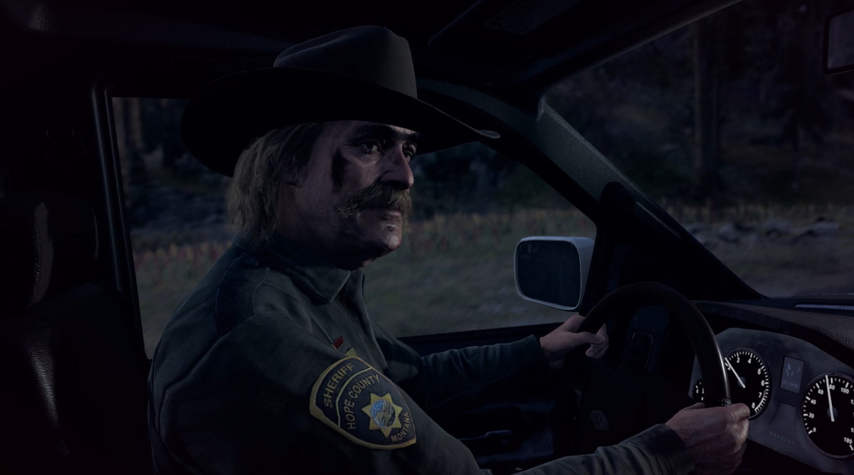 f0d6a037f1dc Far Cry 5 - Hope County Sheriff Whitehorse behind the wheel