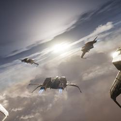 Mustangs in atmospheric flight.