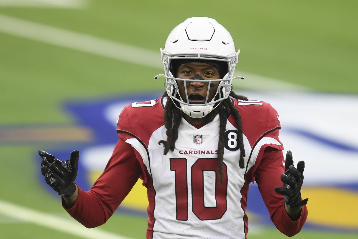 DeAndre Hopkins #10 of the Arizona Cardinals reacts to his pass interference penalty during an 18-7 Los Angeles Rams win at SoFi Stadium on January 03, 2021 in Inglewood, California.