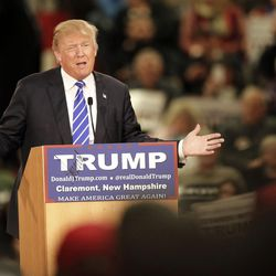 Republican presidential candidate Donald Trump speaks to a crowd at a campaign event Tuesday, Jan. 5, 2016, in Claremont, N.H. (AP Photo/Jim Cole)