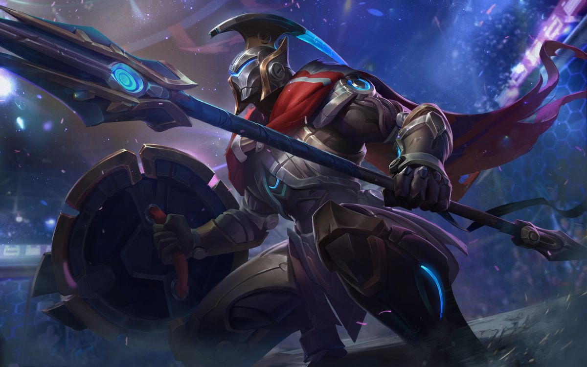Full Metal Pantheon's splash art, which has him in a flashy arena in a tech-based suit of armor