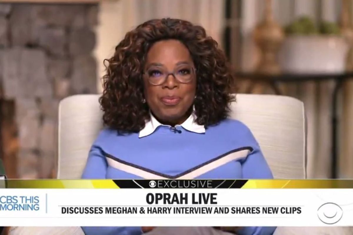 """In this video screen shot issued Monday by """"CBS This Morning,"""" Oprah Winfrey discusses her interview with Prince Harry and Meghan, Duchess of Sussex."""