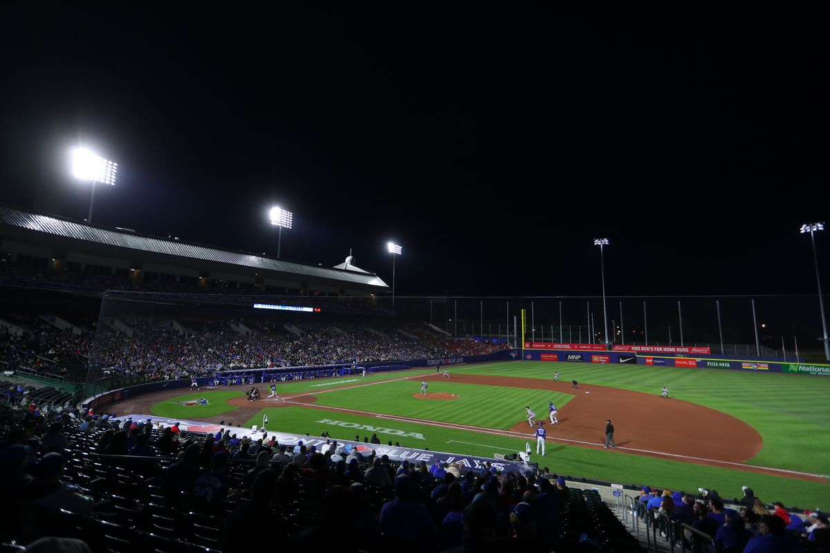 A general view of Sahlen Field in the seventh inning of a game between the Toronto Blue Jays and the Miami Marlin