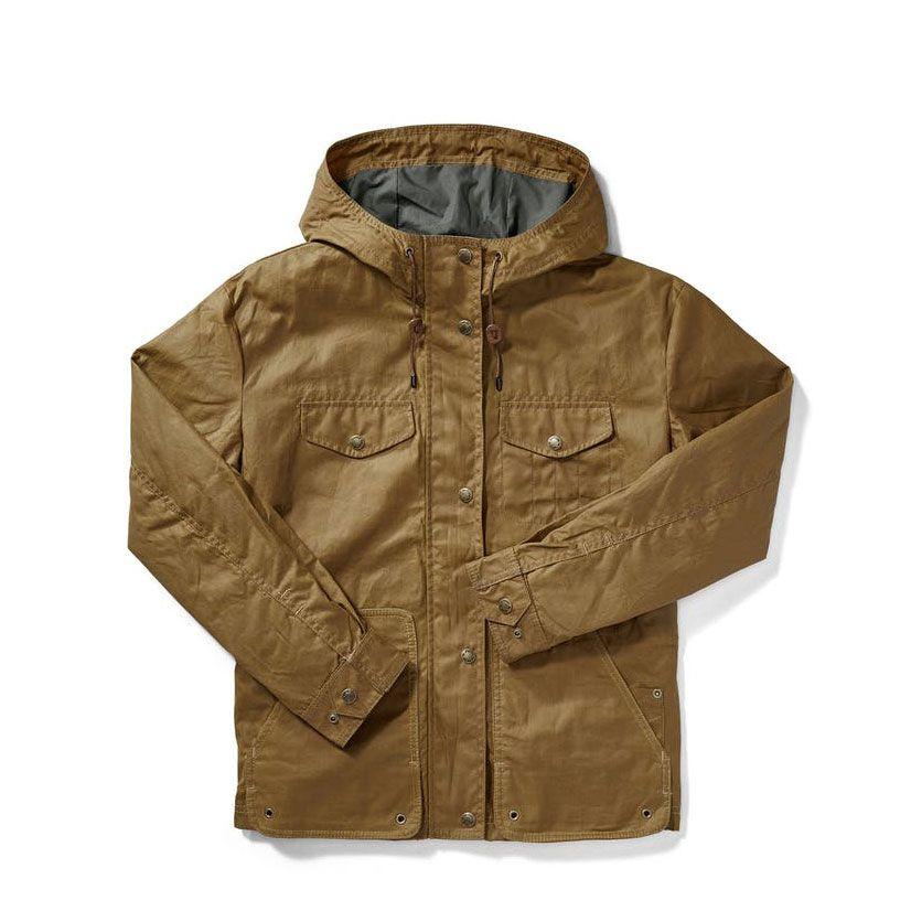 A tan canvas raincoat