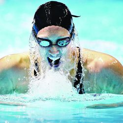 Breeja Larson swims in a women's 200-meter breaststroke semifinal at the U.S. Olympic swimming trials on Friday, June 29, 2012, in Omaha, Neb. (AP Photo/Mark Humphrey)