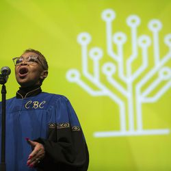 A soloist from the Calvary Baptist choir sings in the general session of RootsTech at the Salt Palace in Salt Lake City on Friday, Feb. 10, 2017.