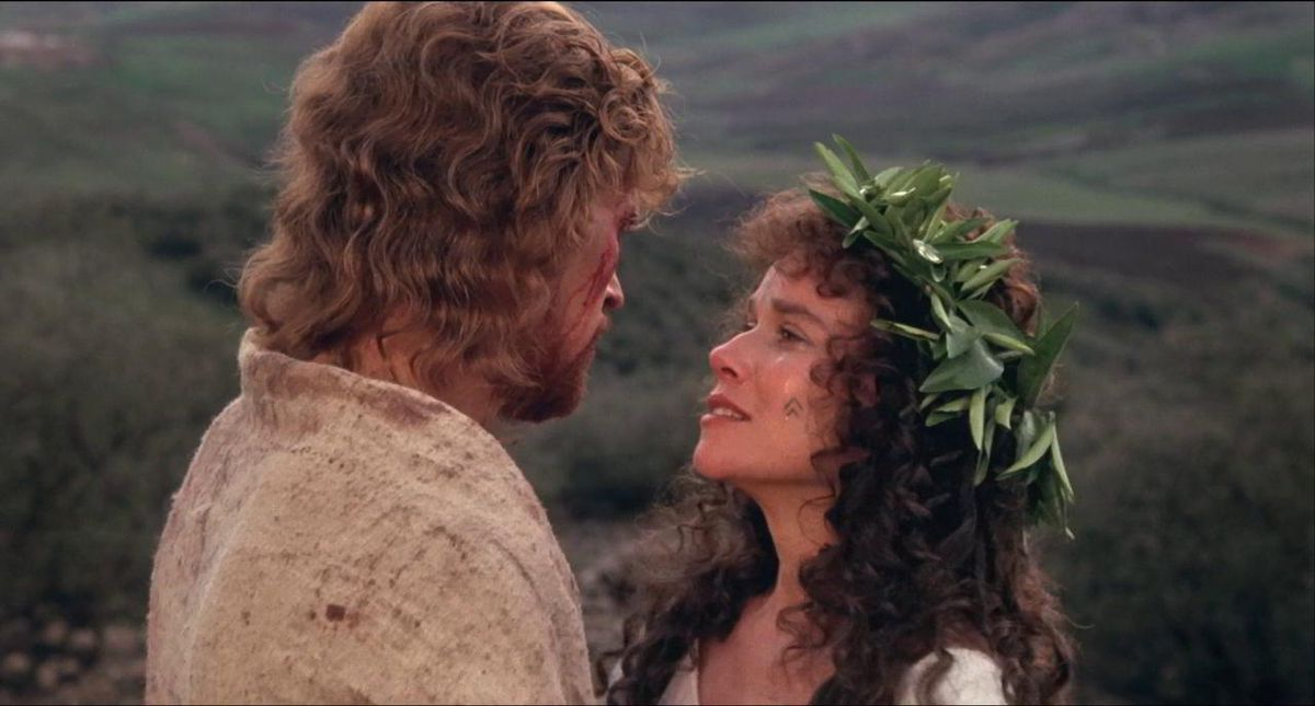 Jesus and Mary Magdalene embrace.