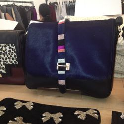 Lizzy Fortunato fur and beaded purse, $200
