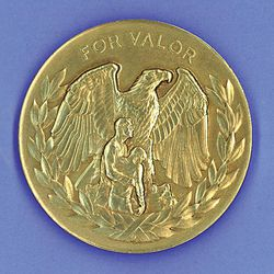 Close-up of the U.S. Department of Interior's Medal of Valor, which each of the rescuers received in 1968 for their efforts on the North Face.