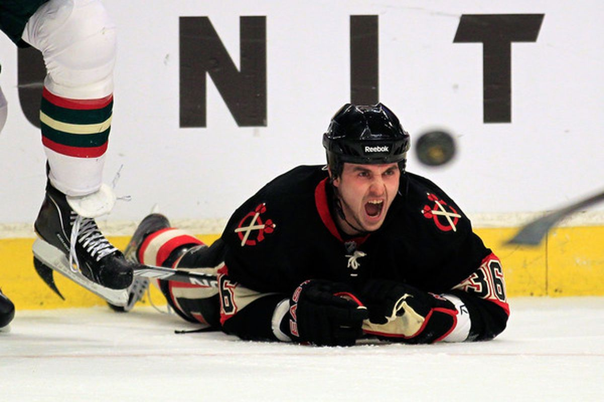 Dave Bolland of the Chicago Blackhawks yells after being knocked to the ice against the Minnesota Wild at the United Center in Chicago Illinois. (Photo by Jonathan Daniel/Getty Images)