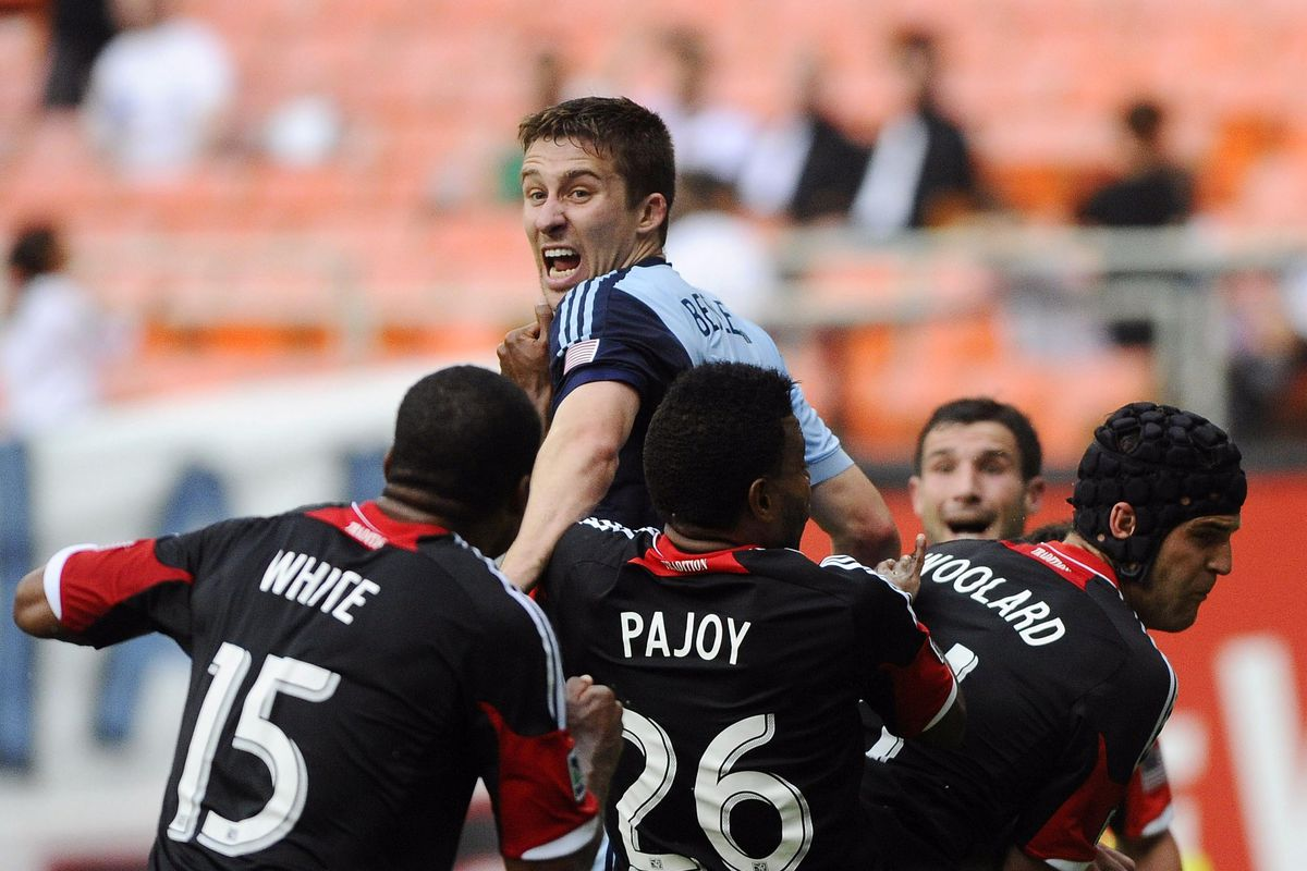 Matt Besler calls for help as he is carried away by a pack of ravenous DC Uniteds