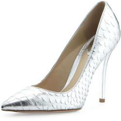 """<a href=""""http://www.zappos.com/b-brian-atwood-joelle-silver-foil?ef_id=UxuHZQAAAXbcG4nD:20140601171645:s"""">B Brian Atwood 'Joelle' Pumps, $245</a>: Sleek reptile-embossing means these will be in heavy rotation. [Photo: Brian Atwood]"""